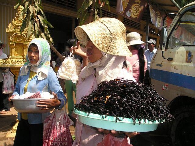 Comida camboyana tarántula