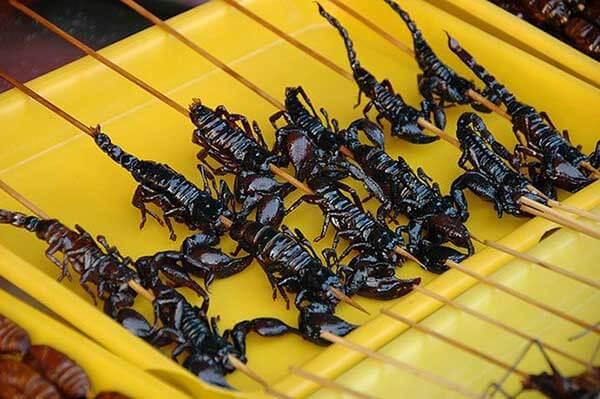 Escorpiones Fritos, Tailandia Y China